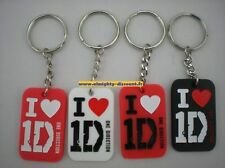Lot 10X Porte Clé Clés Clef Key Ring Chain I Love 1D One Direction Silicone Neuf