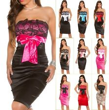 Sexy Bandeau Cocktailkleid Schleife Spitze Kleid Party Cocktail Abendkleid Dress