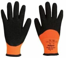 Polyco Reflex Hydro Mens Work Gloves Thermal Lined Latex Coated Hand Protection
