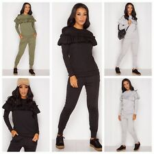 LONG SLEEVES FRILL DETAIL TOP AND JOGGER LOUNGE WEAR TrackSUIT SET