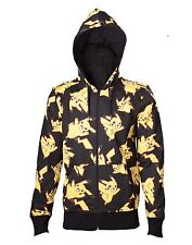Pokemon Hoodie Pikachu All Over Print Logo Official Mens New Black Zipped