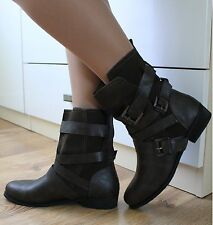 LADIES BROWN WORKER COMBAT BIKER MILITARY FLAT BUCKLE ANKLE BOOTS SHOES SIZE