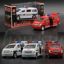 1:32 Alloy Toy Cars Pull Back Van Model Kids Toy Ambulance Police Car Fire Truck