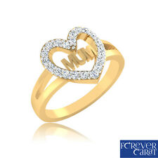 Certified 0.26Ct Real Diamond Heart Mum Ring 14K Gold Mother's Day Mum Ring Gift