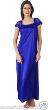 SevenFold Women Satin Royal Blue Color One Piece Nighty, Night Suit, Night dress