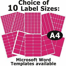 FLUO PINK Laser Copier Inkjet Printer Labels 5 A4 Sheets Self-Adhesive Stickers