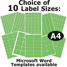 FLUO GREEN Laser Copier Inkjet Printer Labels 5 A4 Sheets Self-Adhesive Stickers
