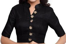 Designer Black Color Dupion Silk Readymade Saree Blouse,Collar Sari Blouse