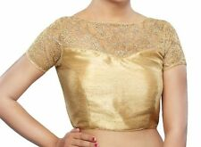 Designer Golden Color Readymade Embroidered Saree Blouse,Padded Sari Blouse