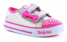 New Younger Girls/Childrens Silver/Pink Skechers Tt Shuffles Trainers. UK SIZES