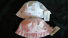 Baby Girls 100% Cotton Bunny & Hearts Cloche Summer Hat