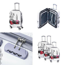 5 Piece ABS Hard Case 4 Wheeler Luggage Suitcase Trolley Travel Bag Case London