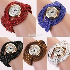 Graceful Delicate Rhinestone Weave Wrap Leather Funky Wrist Watch