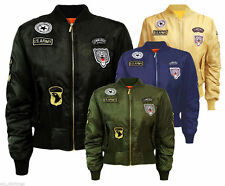 Women's Classic Army Style Patch Bomber Jacket Zip Up Biker Vintage Jacket 8-14