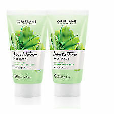 Oriflame Love Nature Face Scrub+Face Gel Mask  Aloe Vera  ,(2 Piece) ,50ml each