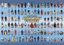 Star Wars Vintage Action Toy Checklist Reference Poster. 104 Figures 1977-1985