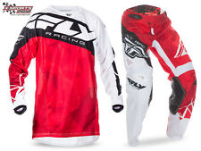 Fly Racing Kinetic Crux Motocross Combo 2017 Rot Weiß Enduro Hose Jersey