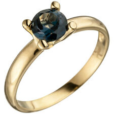 Ring Damenring mit Blautopas blau London Blue, 585 Gold Gelbgold Topasring
