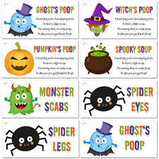 Ghost's Poop Witch's Warts Monster Scabs Spider Legs Eyes Tags Labels Halloween