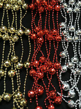 CHRISTMAS GARLAND BEADED DISCO BAUBLES DECORATION BAUBLE 2.7 M 3 COLOURS