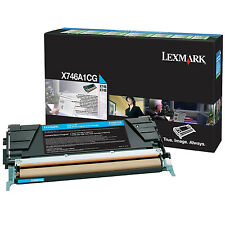 GENUINE ORIGINAL LEXMARK X746A1CG CYAN RETURN PROGRAM LASER TONER CARTRIDGE