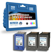 REMANUFACTURED HP 56 & HP 22 HEWLETT PACKARD 3 CARTRIDGE EVERYDAY VALUE PACK