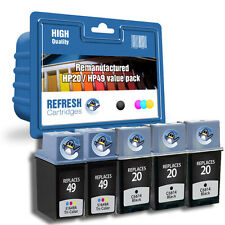 REFRESH CARTRIDGES #20 #49 3x BLK / 2x COL - 5PK INK COMPATIBLE WITH HP PRINTERS