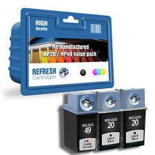 REFRESH CARTRIDGES #20 #49 BLK/BLK/COL - 3PK INK COMPATIBLE WITH HP PRINTERS