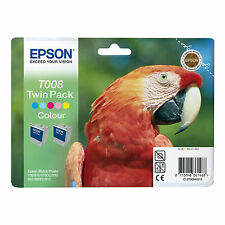 GENUINE EPSON PARROT SERIES COLOUR INK CARTRIDGE TWIN PACK T008 / C13T00840310