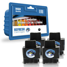 4 x BLACK COMPATIBLE BROTHER PRINTER INK CARTRIDGES LC41BK, LC900BK, LC-900BK