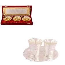 Silver Plated Heavy Dil Bowl - Spoon & Tray & Premium Patta Glass Set - Tray