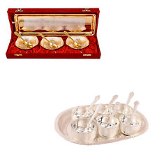 Silver Plated Heavy Bowl with Spoon and Tray and Premium Bowl Set with Tray