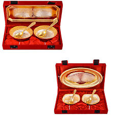 Silver Plated Mini Flower Bowl with Spoon & Tray & Heavy Bowl with Spoon & Tray