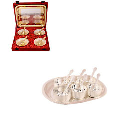 Silver Plated Heavy Flower Bowl with Spoon & Tray & Premium Bowl Set with Tray