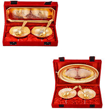 Silver Plated Mini Bowl with Spoon & Tray & Heavy Dil Bowl with Spoon & Tray