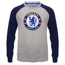Chelsea FC Official Football Gift Kids Crest Long Sleeve Raglan T-Shirt