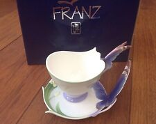 FRANZ PORCELAIN - BLUE BUTTERFLY CUP & SAUCER - FZ00056 - NEW IN BOX