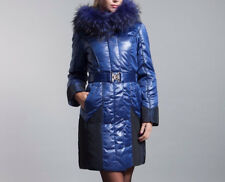 Winter Blue Fox Fur Collar Slim Fit Jacket Woven feather Duck Down plus size