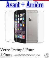Vitre protection Film Protecteur Verre Trempé AVANT+ARRIERE iPhone 4/5/6/7/plus!