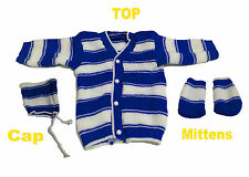 Infant New Born Baby Woolen Sweater Suits 3Pc Set (Top+Cap+Mittens) 0 TO 6 MONTH