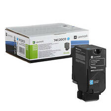 GENUINE LEXMARK 74C20C0 CYAN RETURN PROGRAM LASER TONER CARTRIDGE