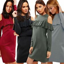 Ladies Womens CUT Out COLD Shoulder Frill Ruffle Detail Long Sleeves Tunic Dress