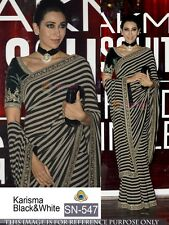 New Gorgeous Black & White Georgette Print Bollywood Style Designer Saree-sari