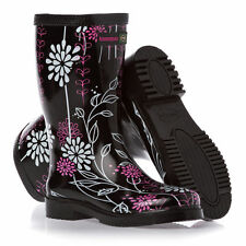 TO CLEAR - Black, Pink & White Wellington Boots Mid Cut Wellies Size 2 & 8