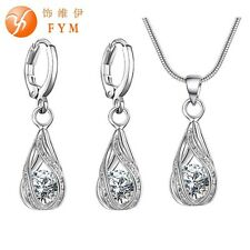 Water Drop Pendent Zircon Snake Chain Necklace Earrings Jewelry Set Women