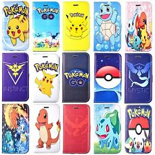 Cartoon Pokemon Go Pikachu PU Leather Wallet Case Cover For iPhone 4S 5S 6S Plus