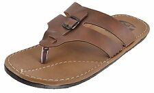 Guardian slippers in Brown Color Leather Mens Thong Slippers