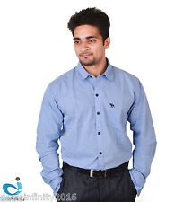 Men Blue Slim Fit Solids Semi- Formal Shirt