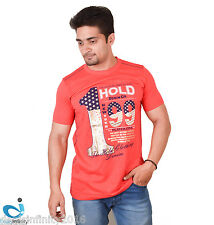 Mens Graphic Printed Round Neck T-Shirt (Red)
