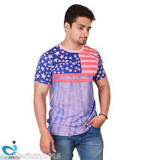 Mens Printed Round Neck T- Shirt (Pink)
